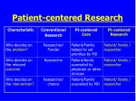 patient centered research