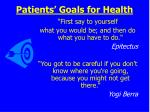 patients goals for health