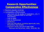 research opportunities comparative effectiveness