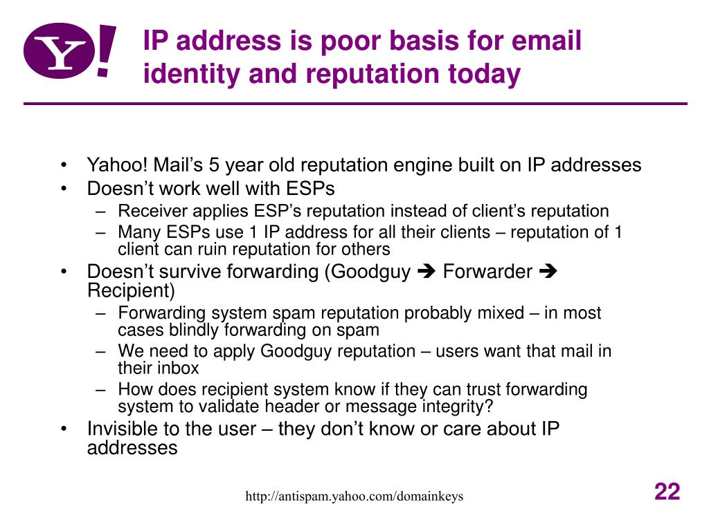 IP address is poor basis for email identity and reputation today