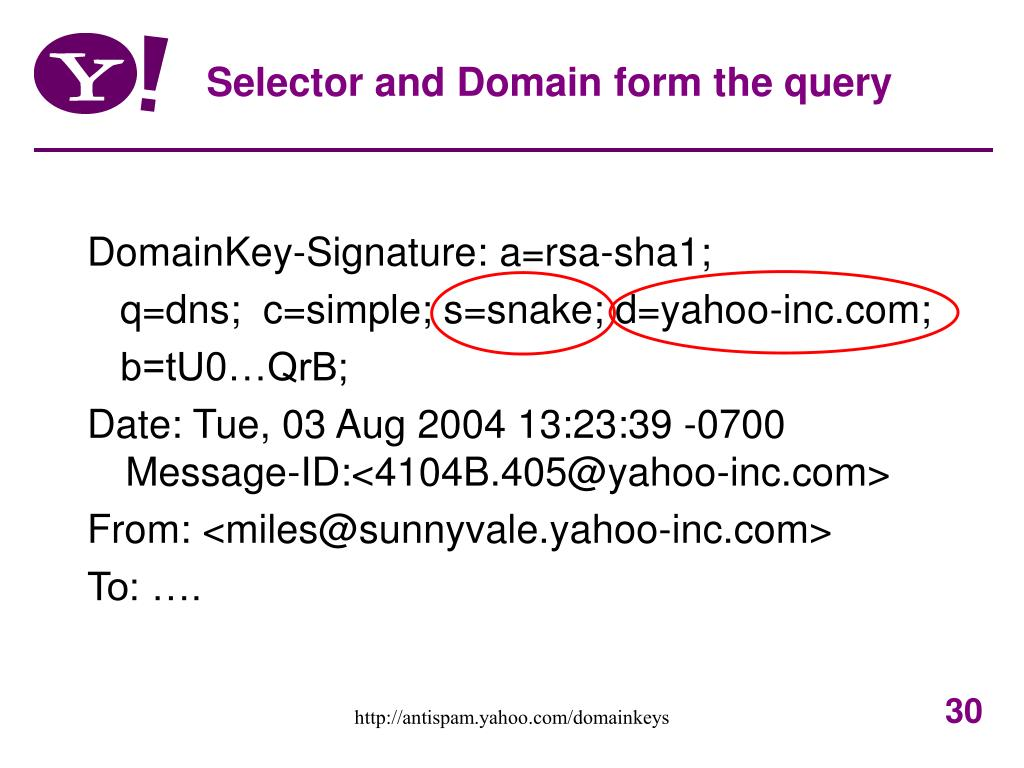 Selector and Domain form the query