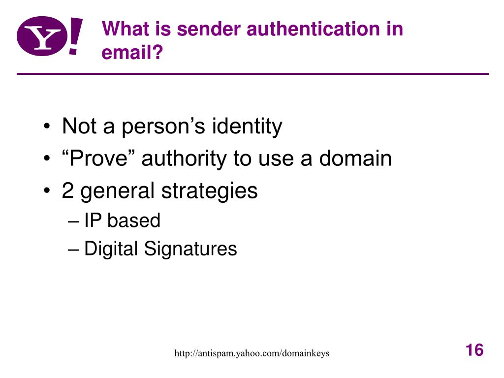What is sender authentication in email?