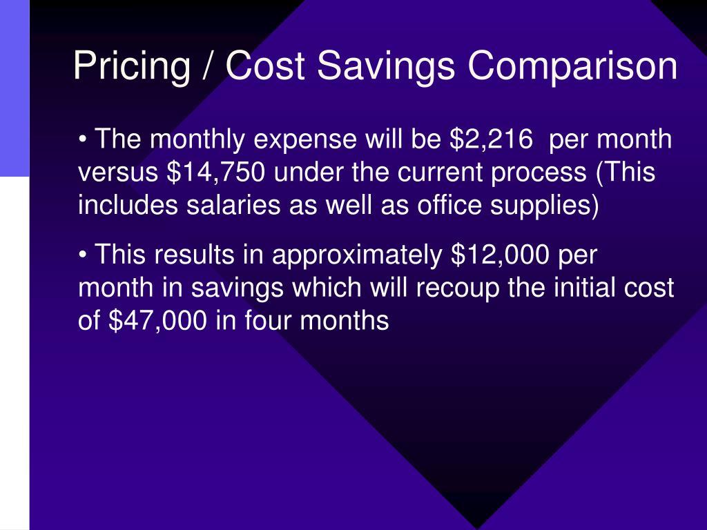 Pricing / Cost Savings Comparison