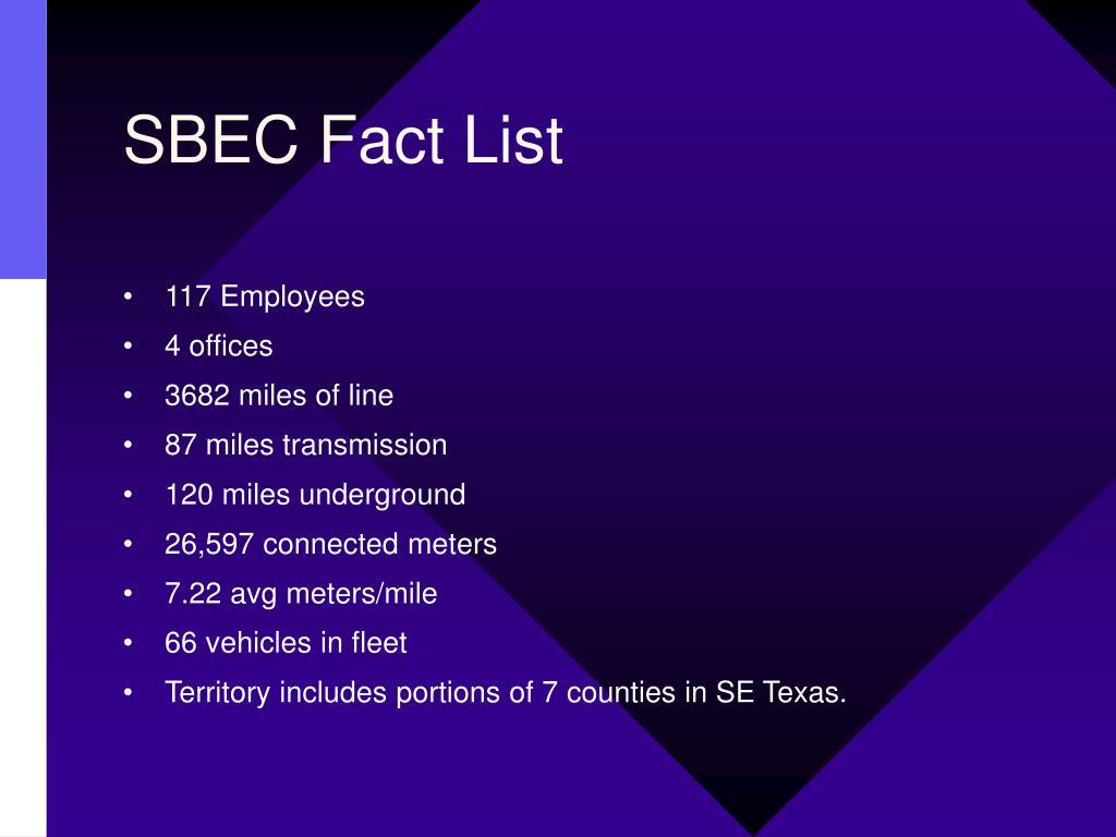 SBEC Fact List