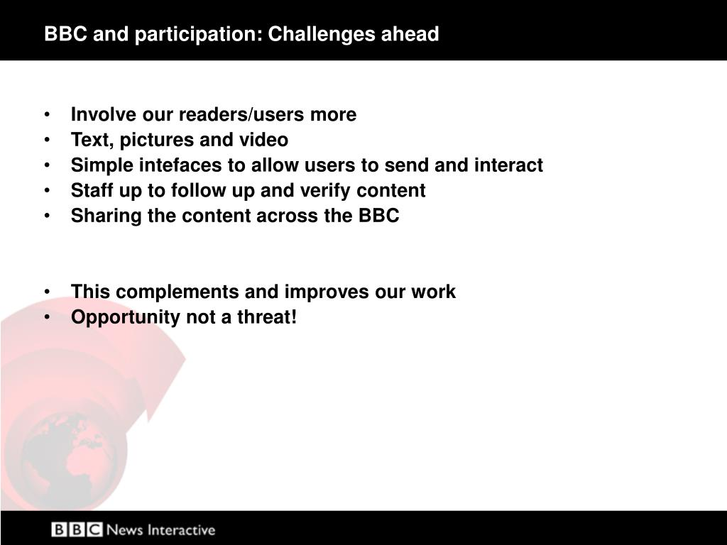BBC and participation: Challenges ahead