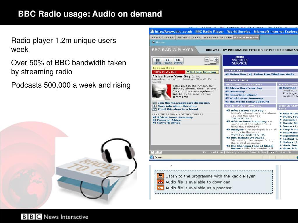 BBC Radio usage: Audio on demand