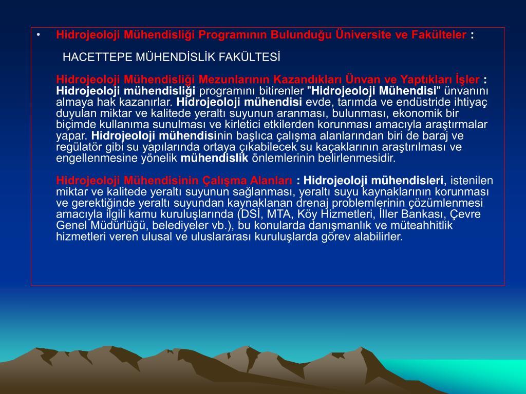 Hidrojeoloji Mühendisliği Programının Bulunduğu Üniversite ve Fakülteler