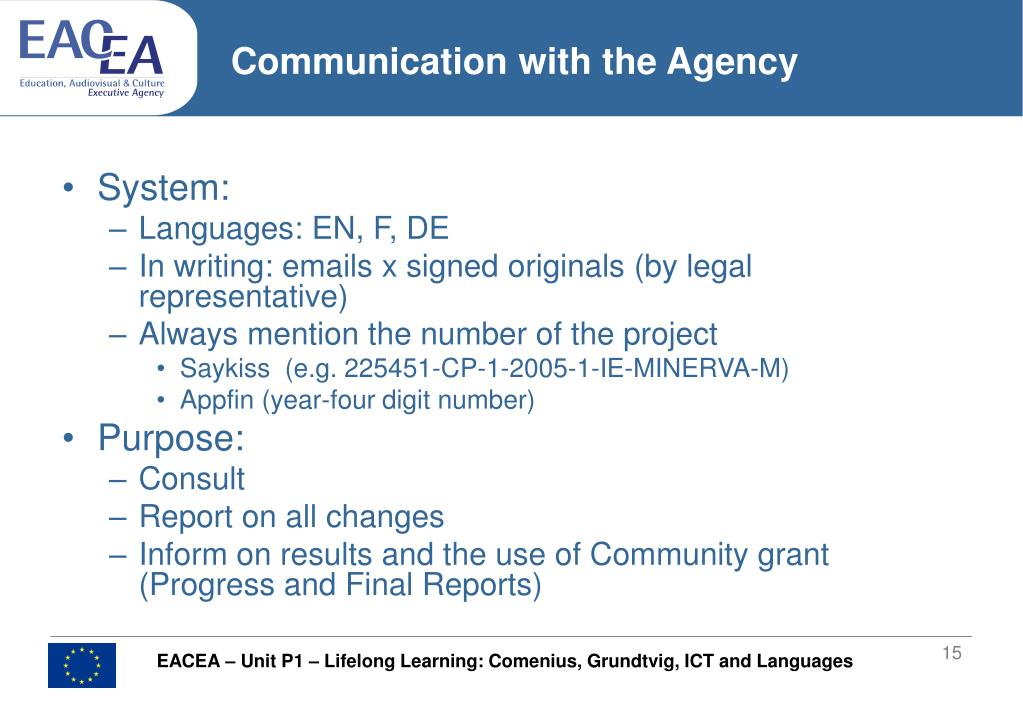 Communication with the Agency