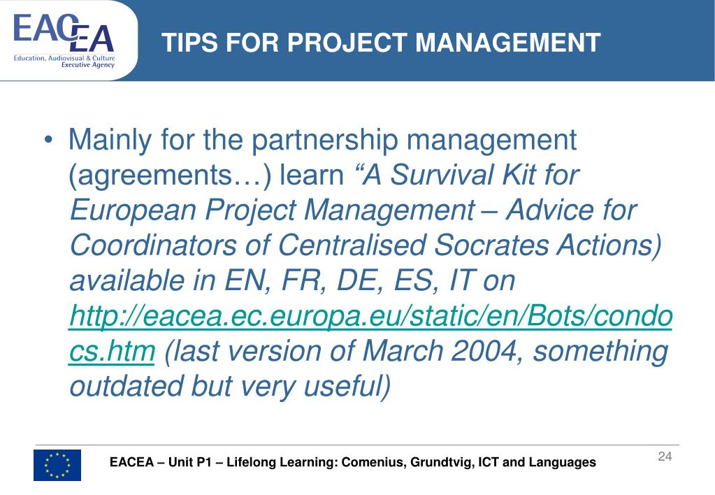 TIPS FOR PROJECT MANAGEMENT