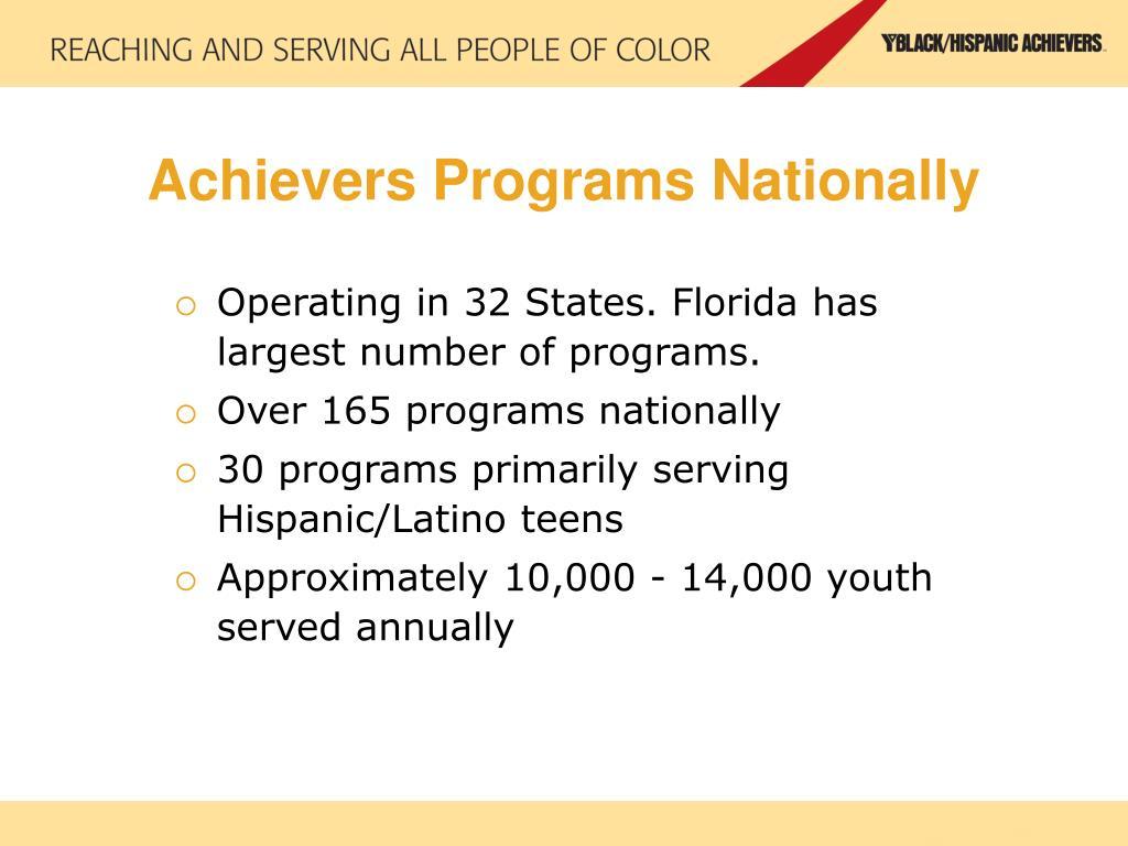 Achievers Programs Nationally