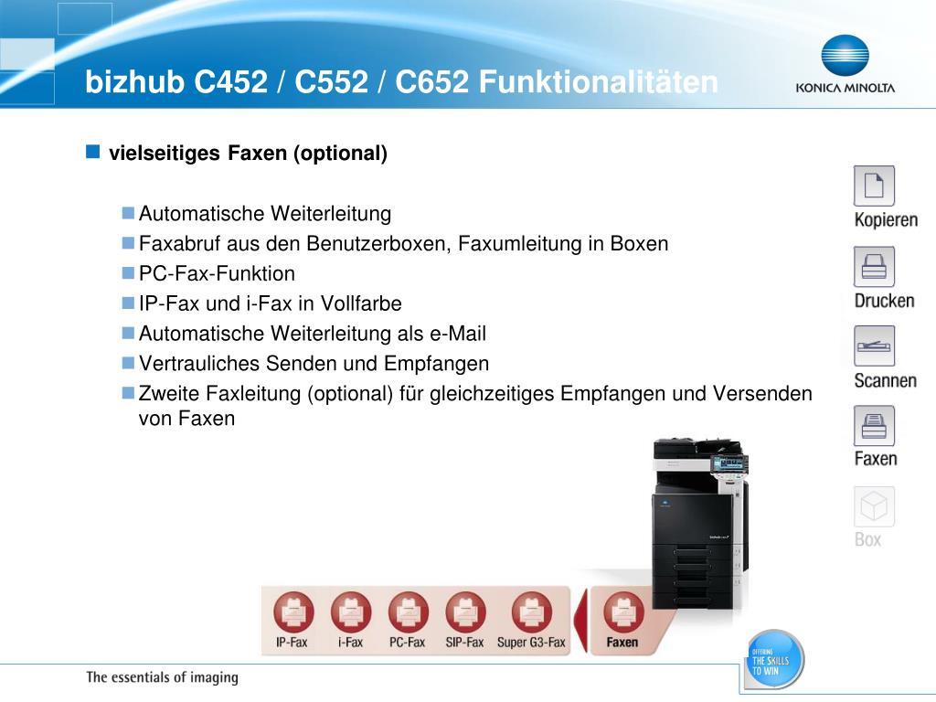 bizhub C452 / C552 / C652 Funktionalitäten