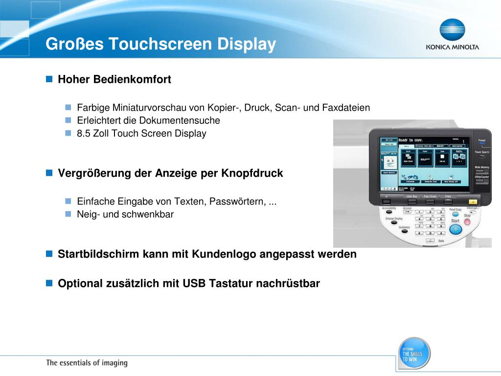Großes Touchscreen Display