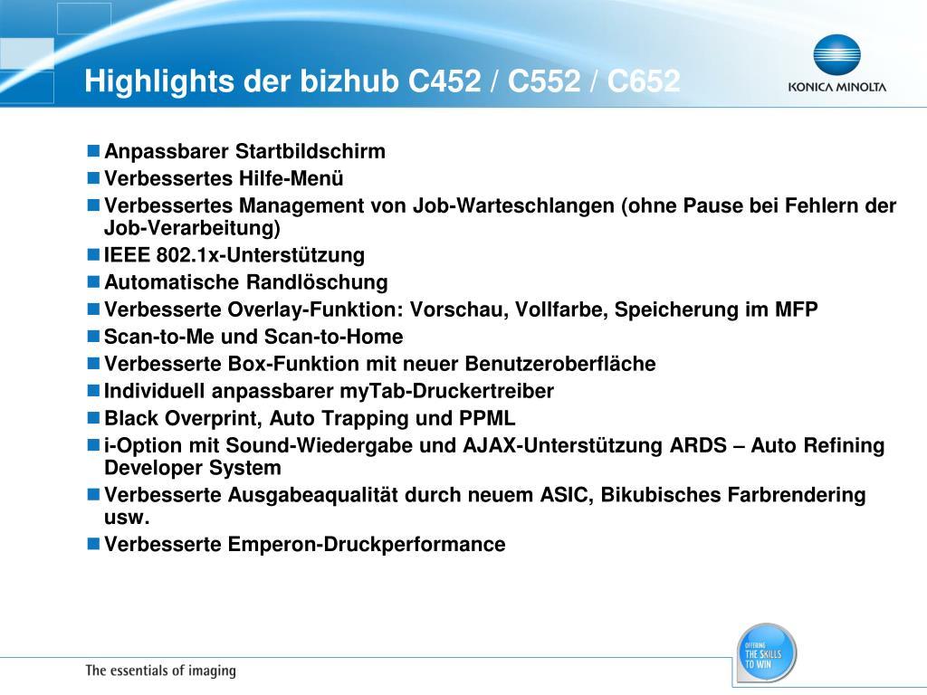Highlights der bizhub C452 / C552 / C652