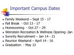 important campus dates