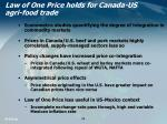 law of one price holds for canada us agri food trade