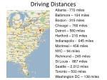 driving distances