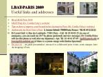 lbat paris 2009 useful links and addresses