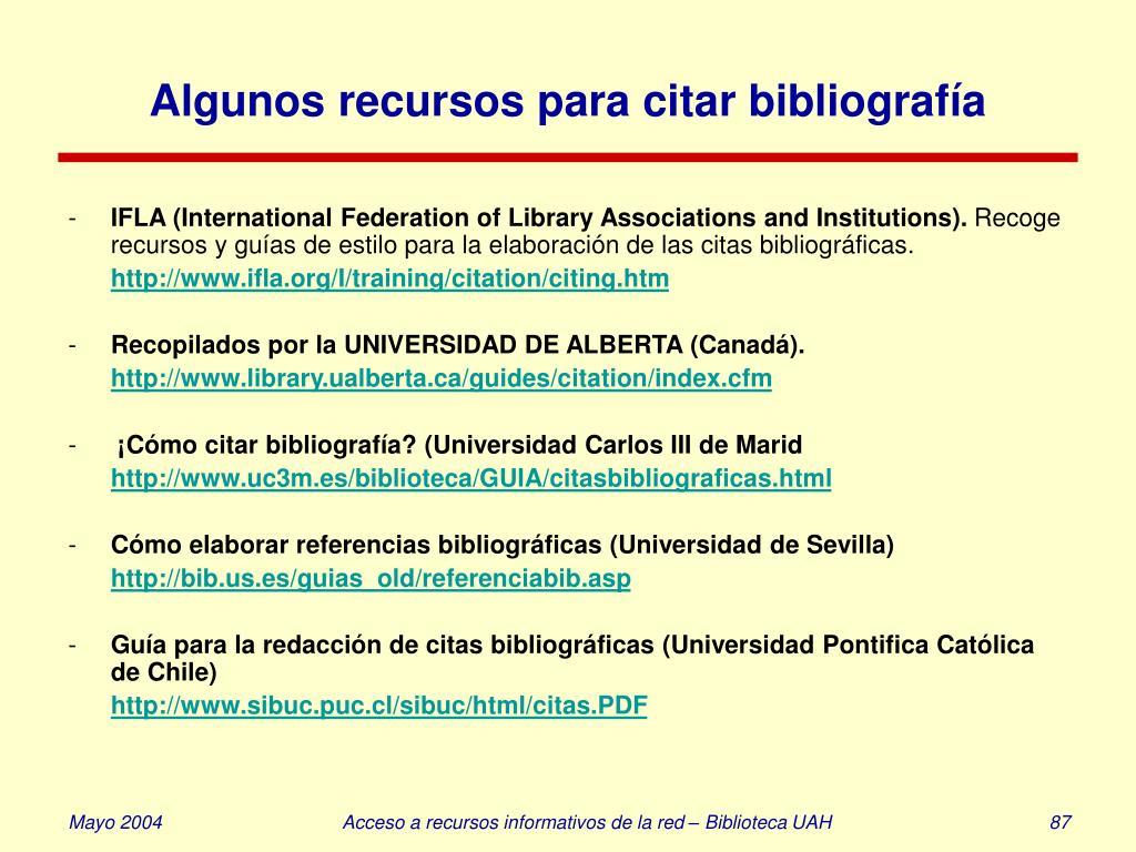 Algunos recursos para citar bibliografía