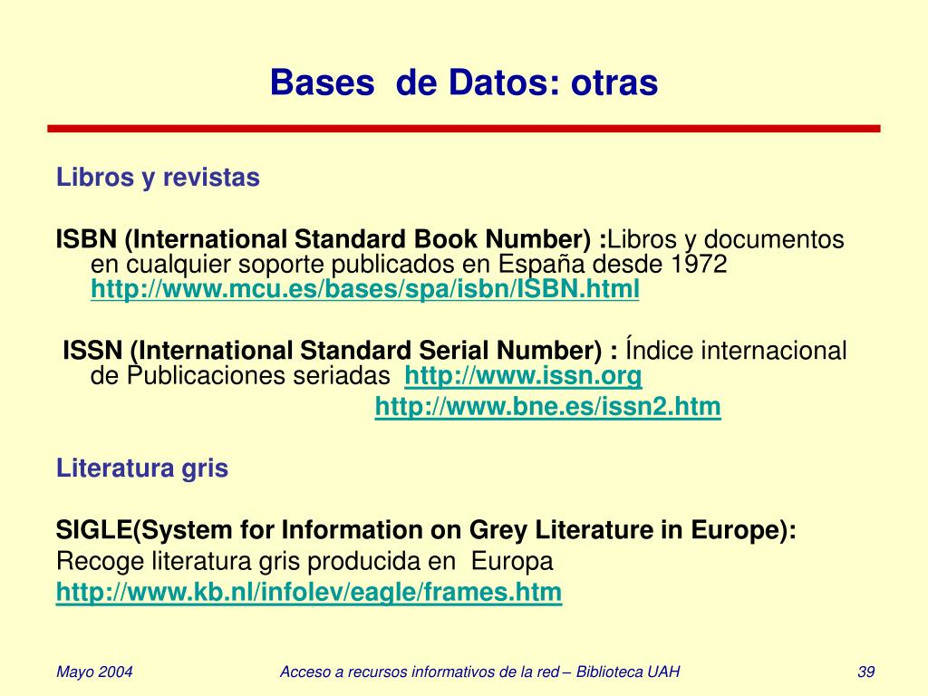 Bases  de Datos: otras