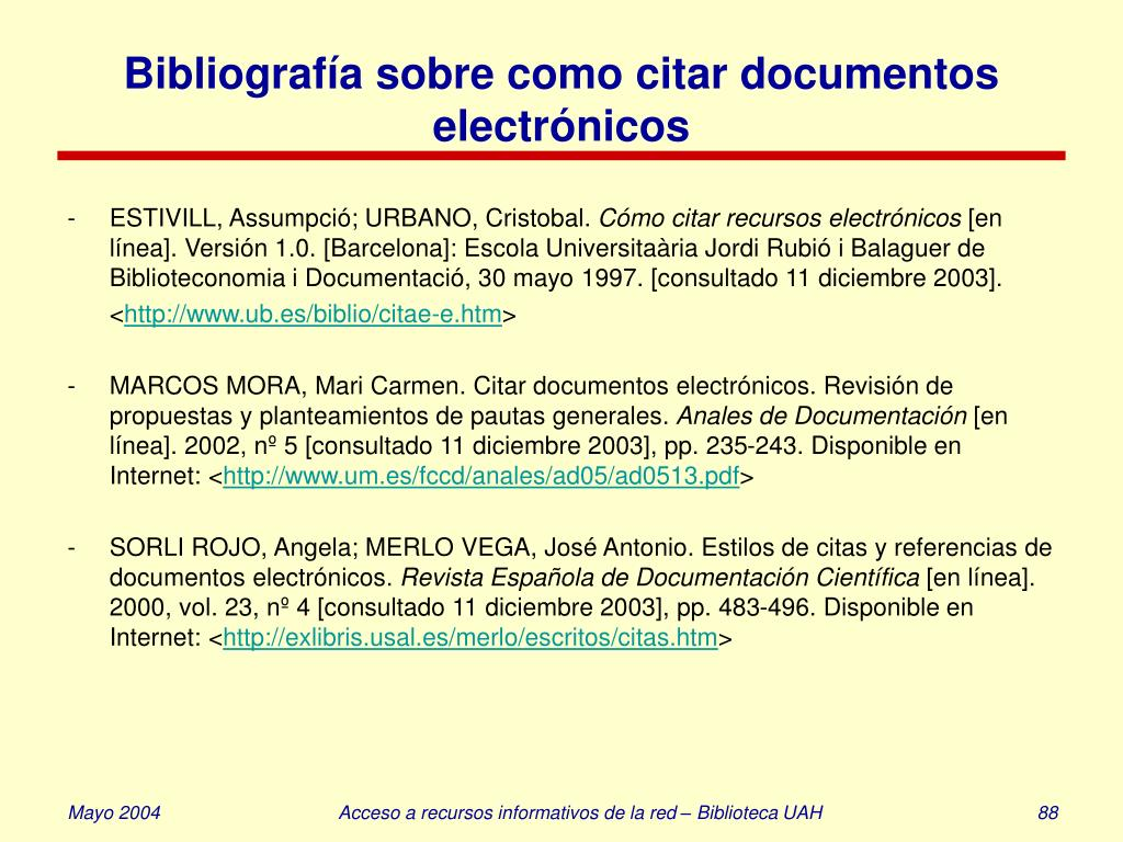 Bibliografía sobre como citar documentos electrónicos
