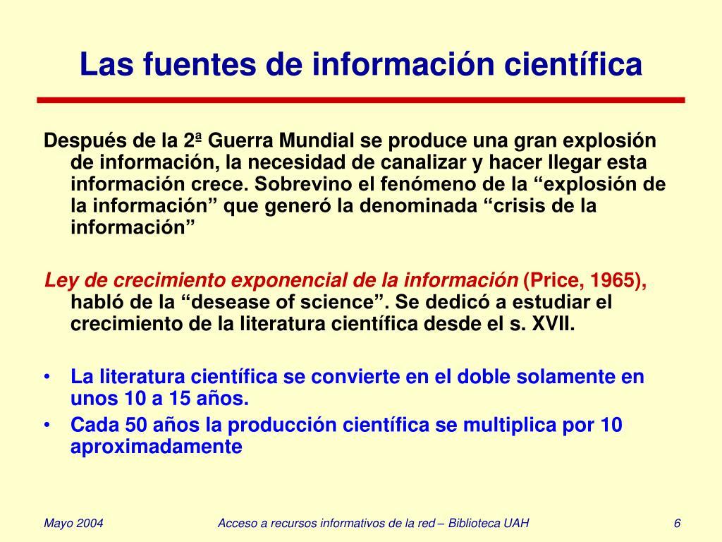 Las fuentes de información científica