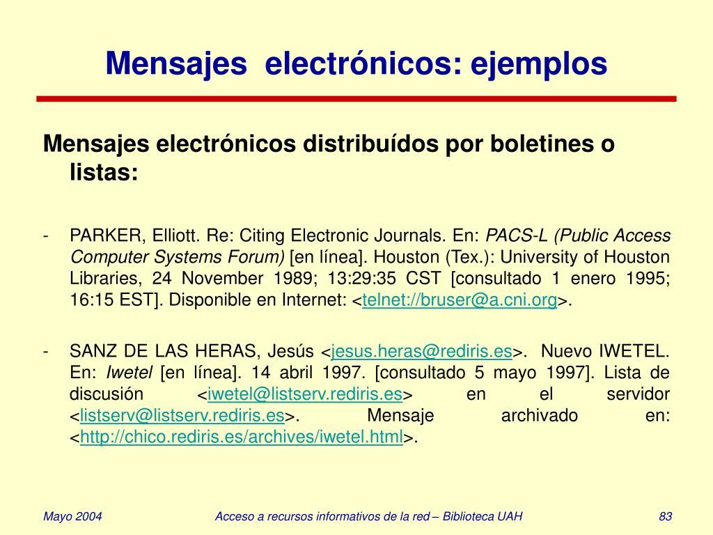 Mensajes  electrónicos: ejemplos