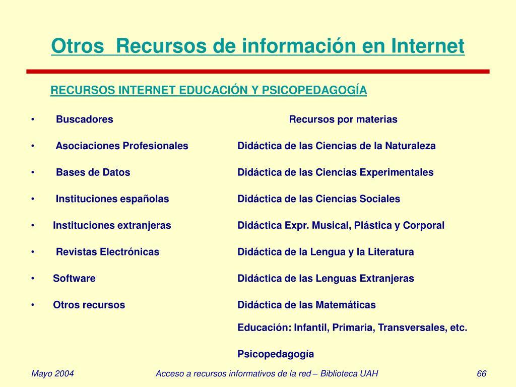 Otros  Recursos de información en Internet