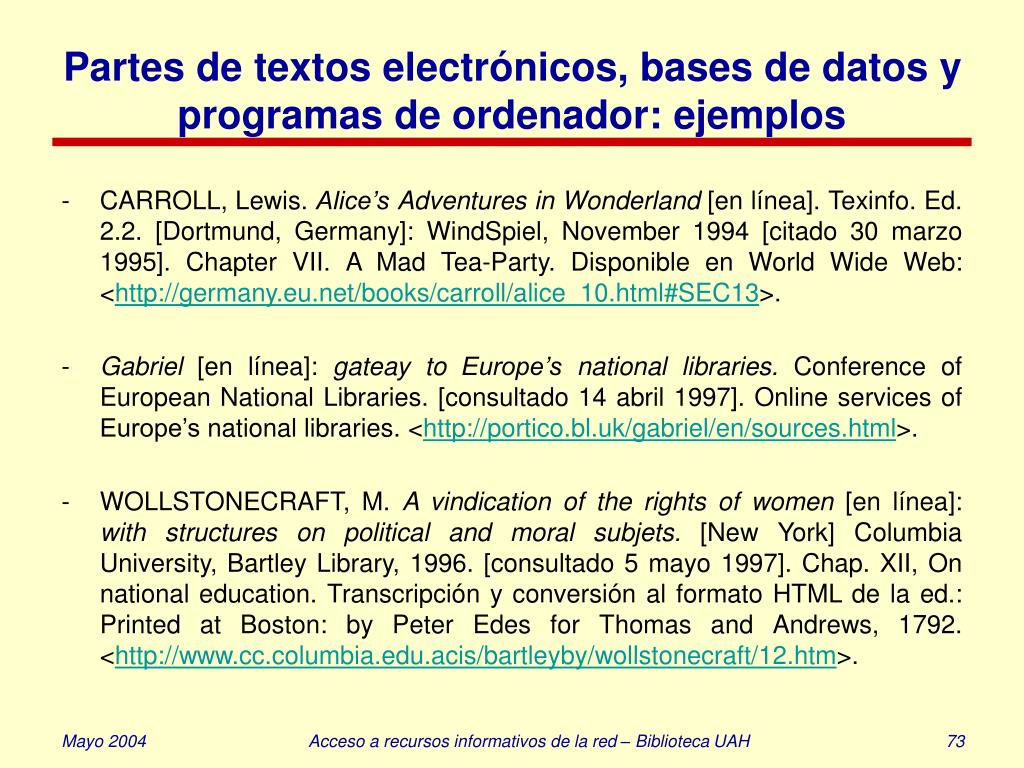 Partes de textos electrónicos, bases de datos y programas de ordenador: ejemplos