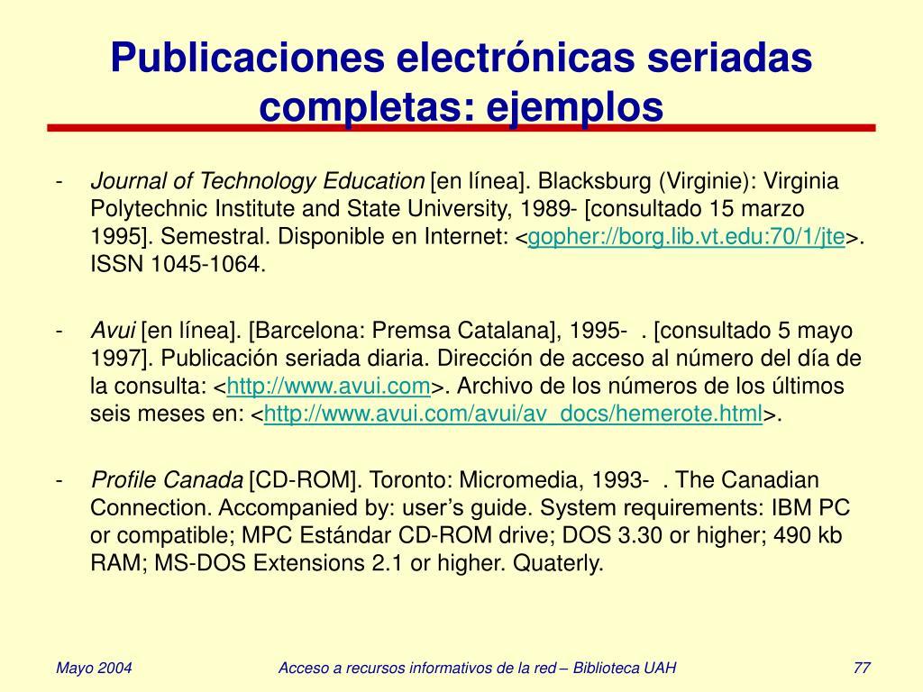 Publicaciones electrónicas seriadas completas: ejemplos