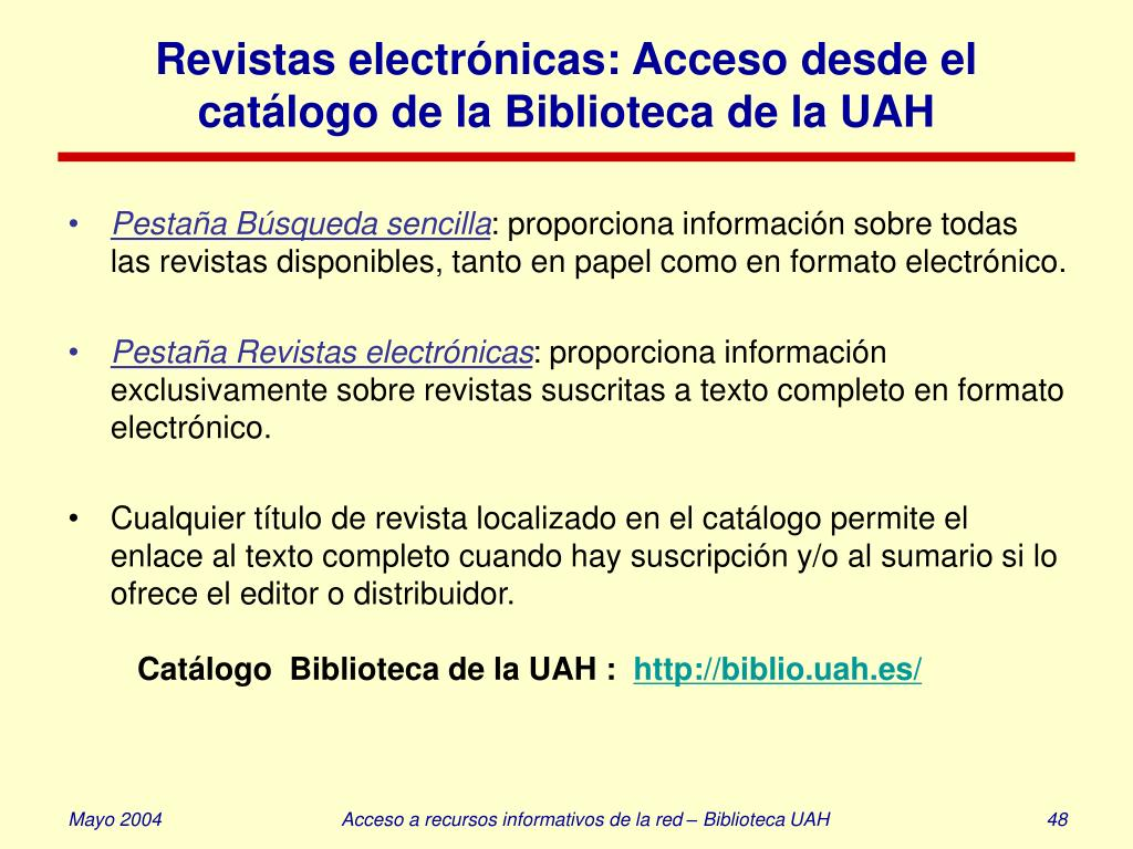Revistas electrónicas: Acceso desde el catálogo de la Biblioteca de la UAH