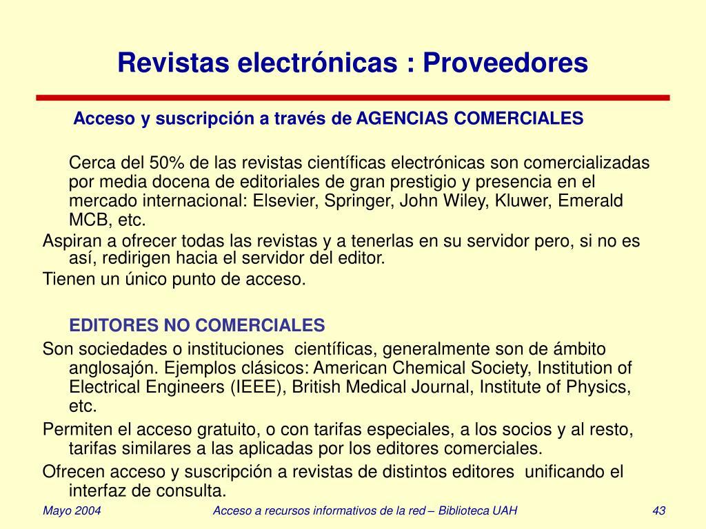 Revistas electrónicas : Proveedores
