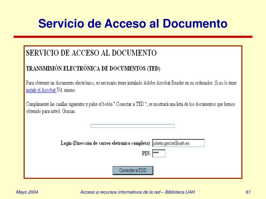 Servicio de Acceso al Documento