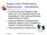 supply chain performance measurement introduction