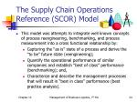 the supply chain operations reference scor model