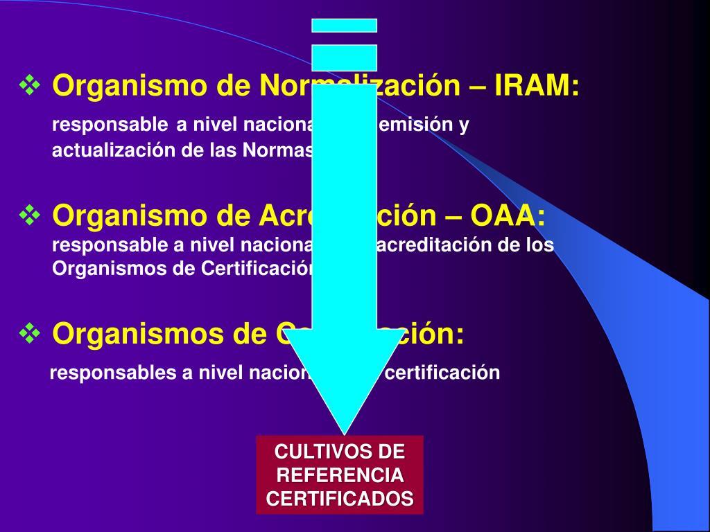 Organismo de Normalización – IRAM: