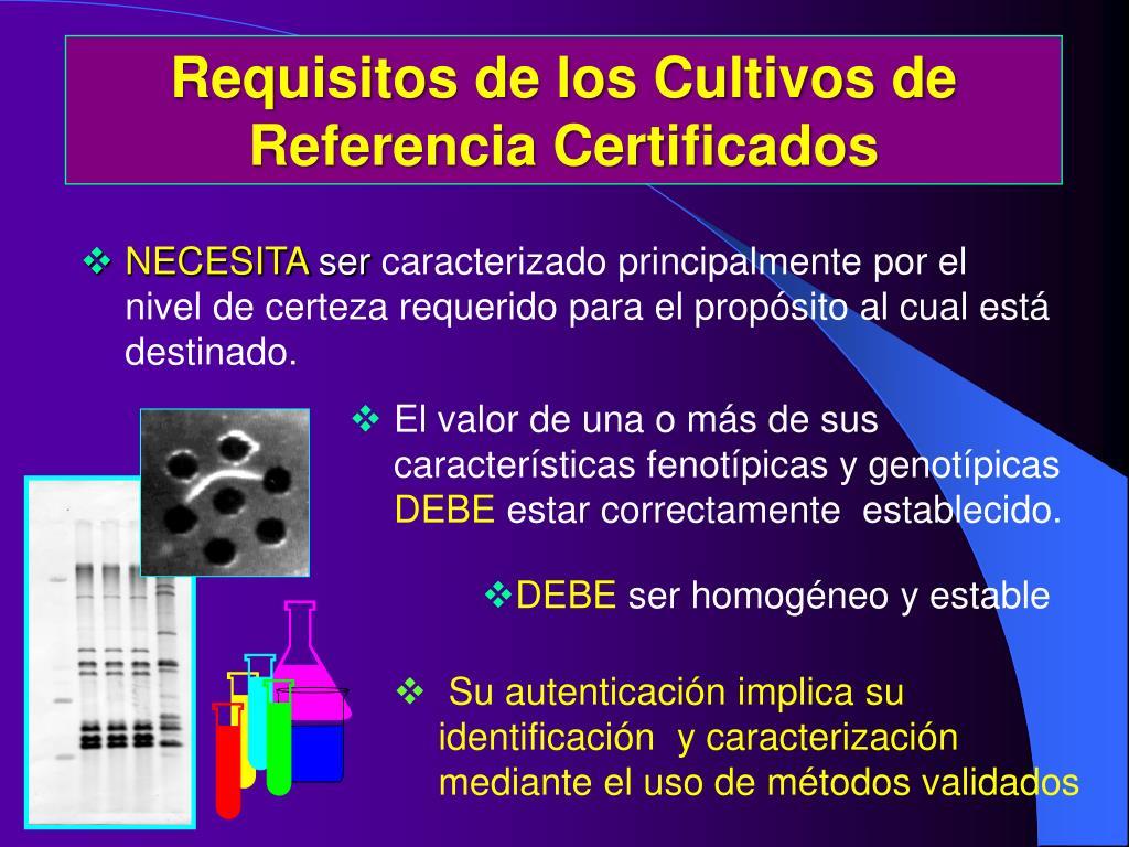 Requisitos de los Cultivos de Referencia Certificados