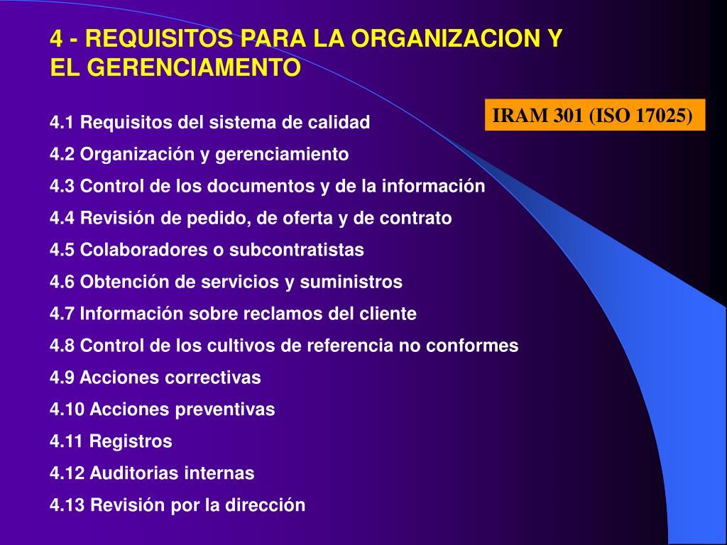 4 - REQUISITOS PARA LA ORGANIZACION Y EL GERENCIAMENTO