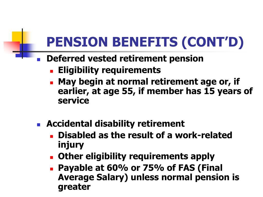 PENSION BENEFITS (CONT'D)