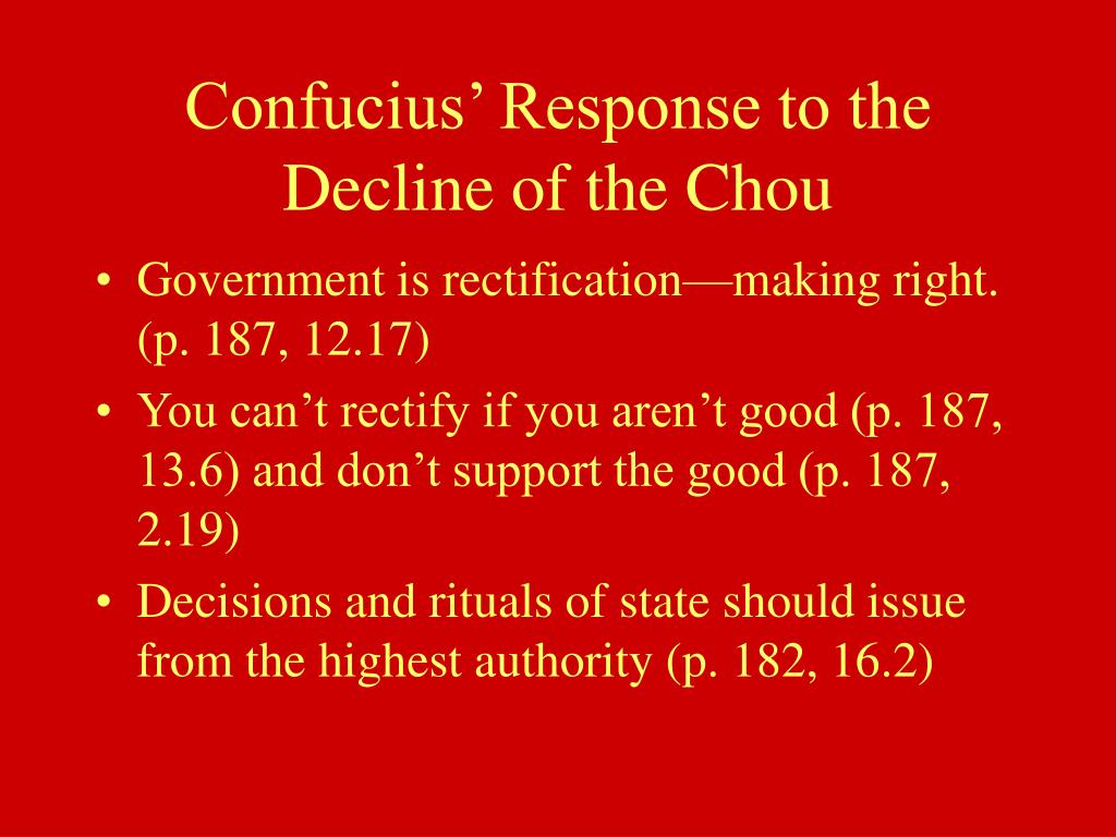 Confucius' Response to the Decline of the Chou