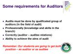 some requirements for auditors