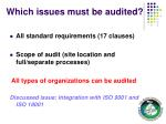 which issues must be audited