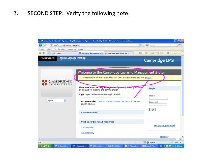 2 second step verify the following note