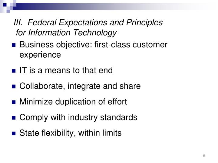 III.  Federal Expectations and Principles