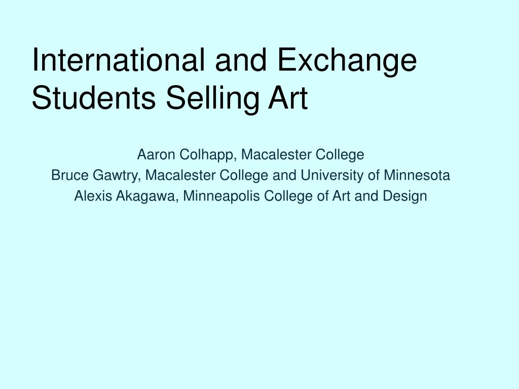 international and exchange students selling art l.