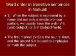 word order in transitive sentences in nahuatl