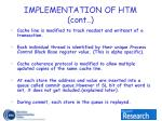 implementation of htm cont