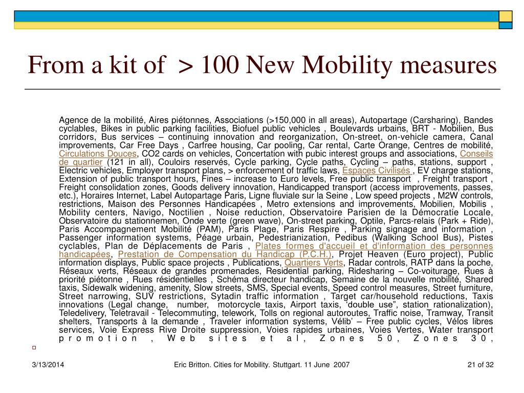From a kit of  > 100 New Mobility measures