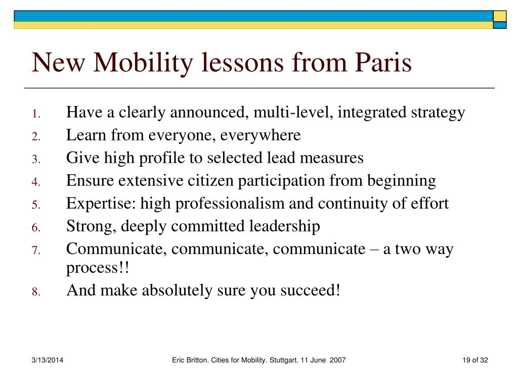New Mobility lessons from Paris