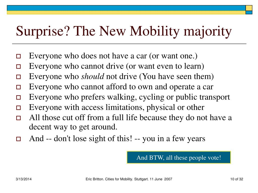 Surprise? The New Mobility majority