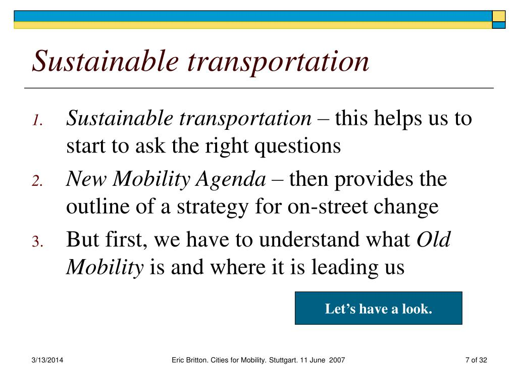 Sustainable transportation